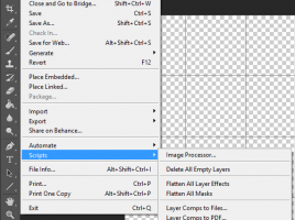 The JavasSript based Photoshop Script (.jsx)  executed from menu or keyboard shortcut.