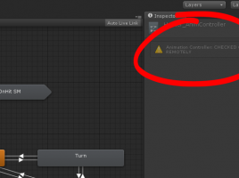 The Unity Inspector shows that the animation controller is checked out remotely.